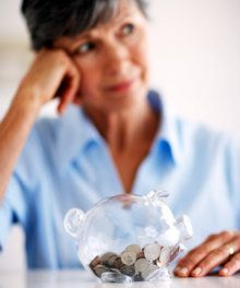 older woman with finances