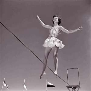 woman tightrope vintage